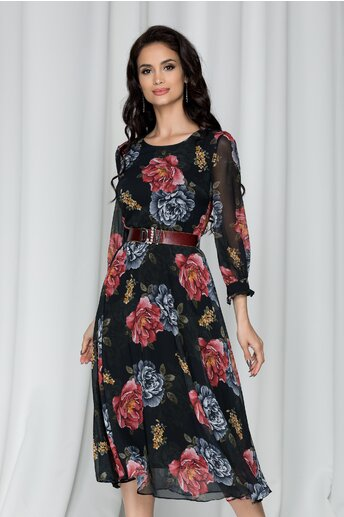 Rochie Vera neagra cu imprimeuri florale bordo
