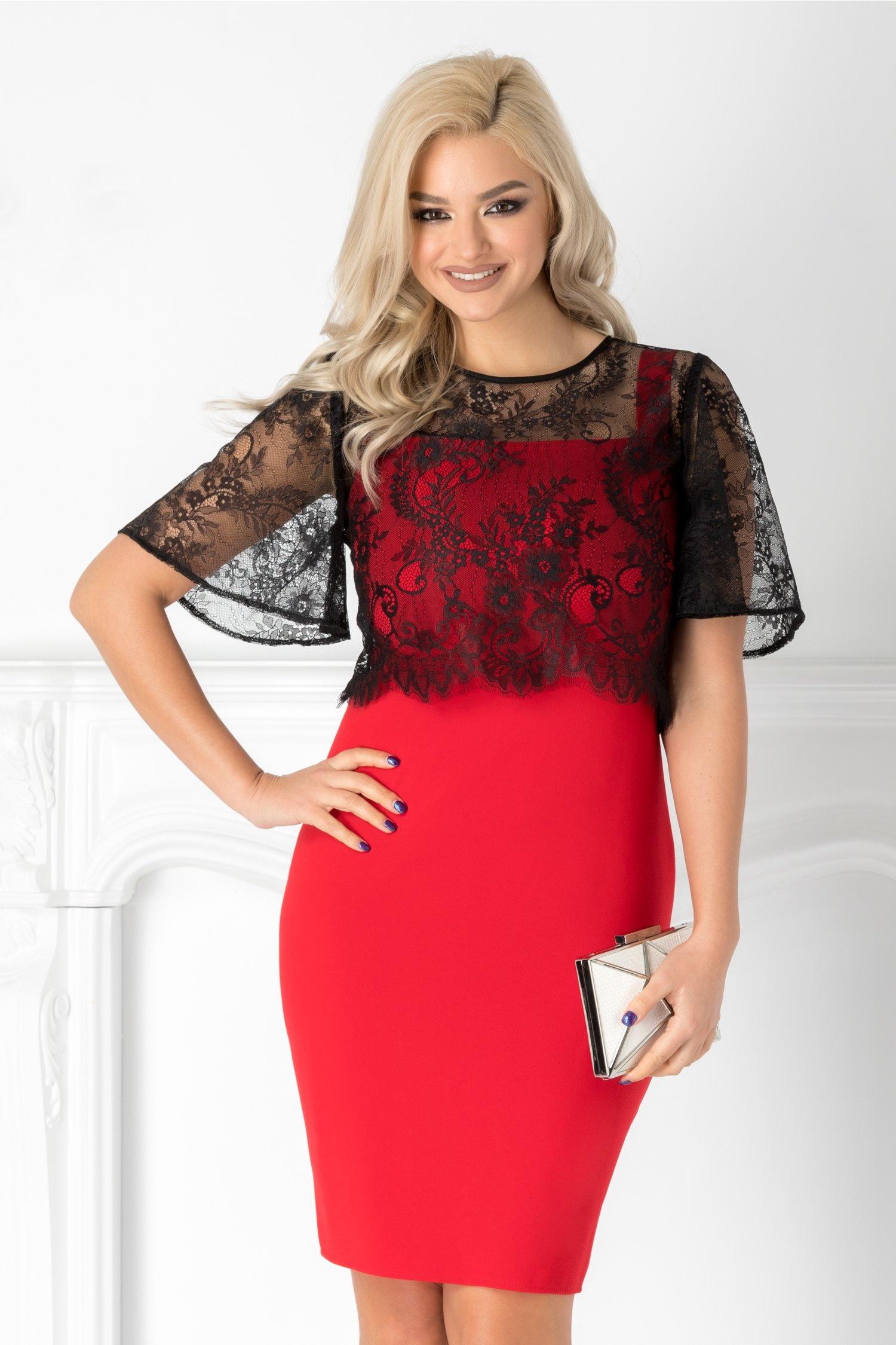 Rochie Vera rosie cu bolero negru din dantela