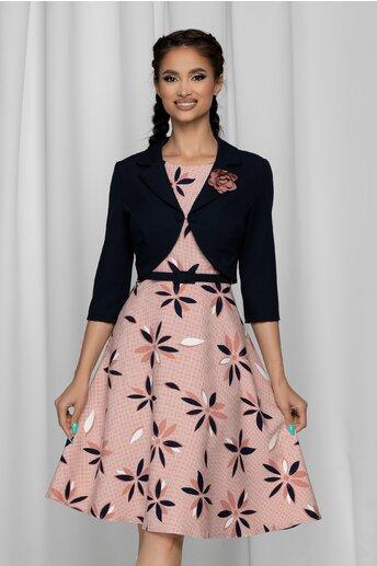 Rochie Vera roz cu imprimeu si bolero bleumarin