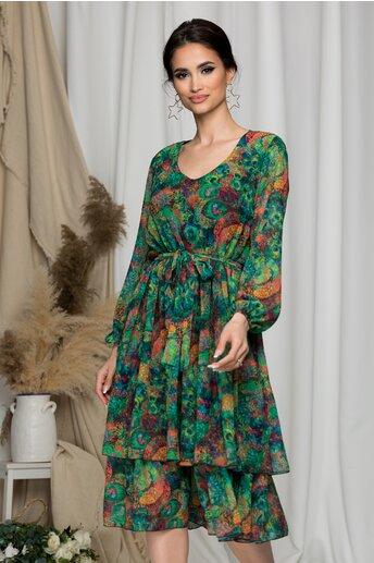 Rochie Vera verde cu imprimeuri colorate si volane pe fusta