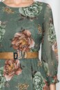 Rochie Vera verde cu imprimeuri florale maro
