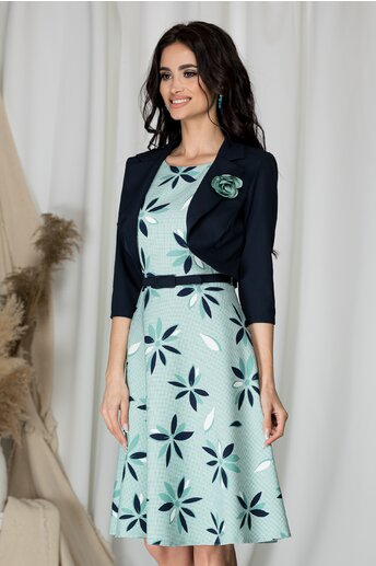 Rochie Vera verde mint cu bolero bleumarin