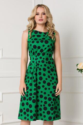 Rochie verde cu buline negre si pliuri in talie
