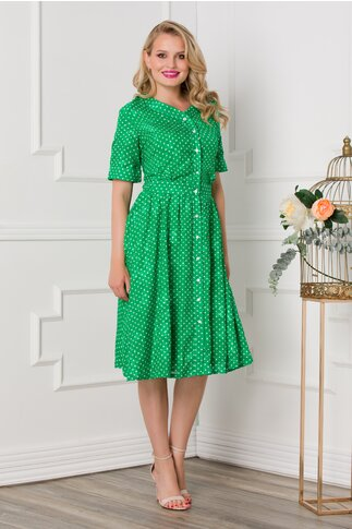 Rochie verde cu buline si nasturi pe fata