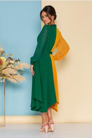 Rochie verde cu galben si curea in talie