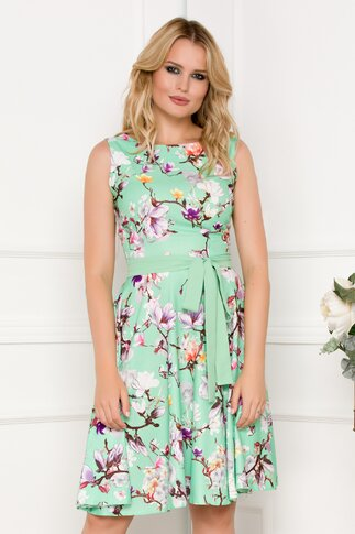 Rochie verde cu imprimeu floral mov si cordon in talie