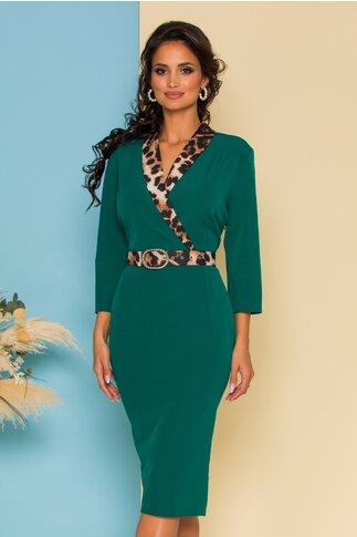 Rochie verde cu rever animal print si curea