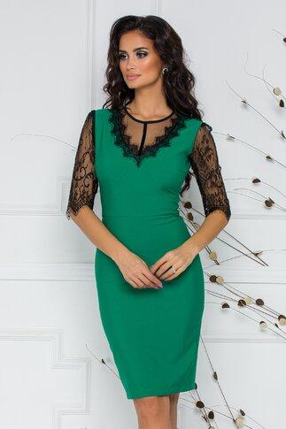 Rochie verde LaDonna by Catalin Botezatu accesorizata cu dantela Chantilly
