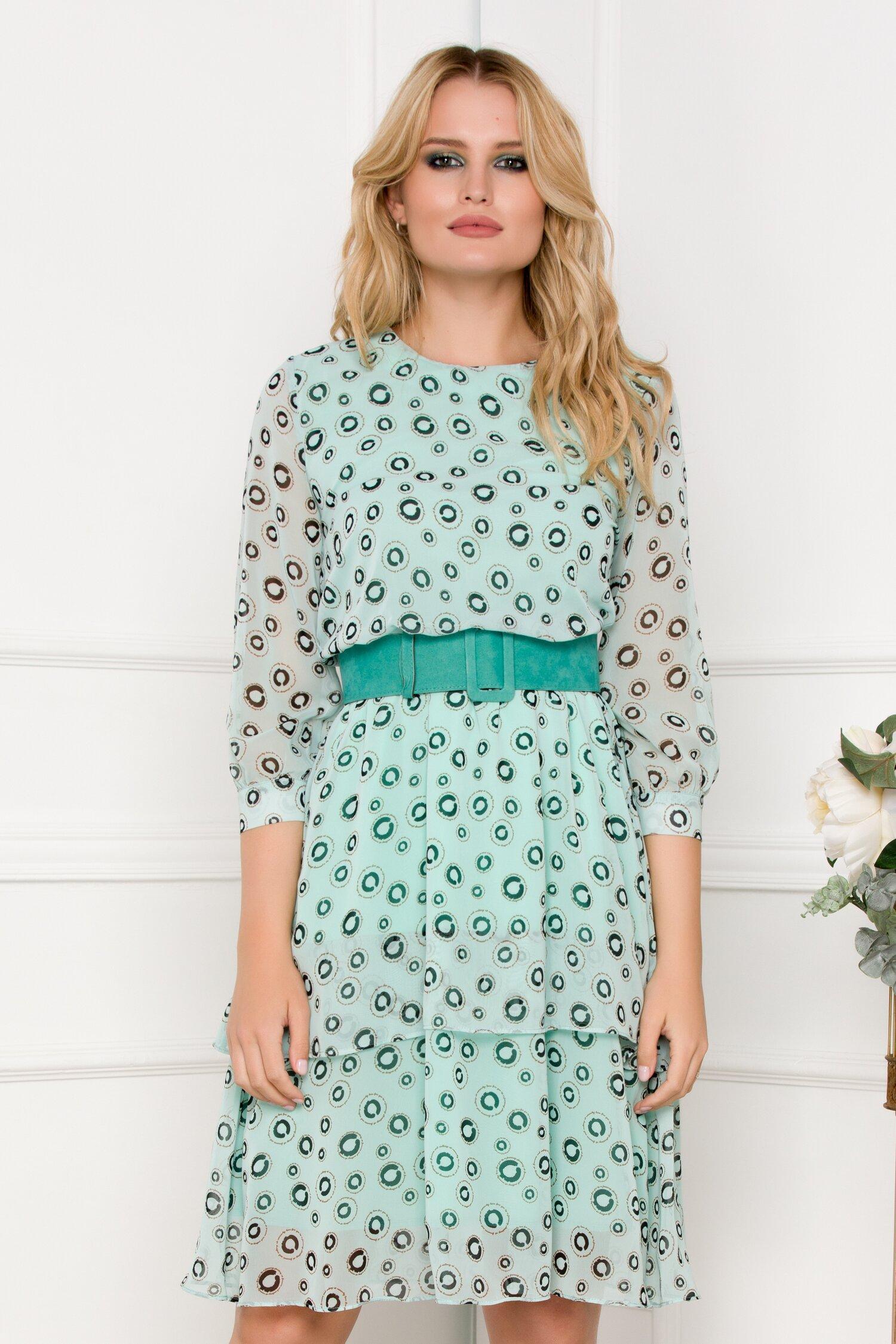 Rochie verde mint cu imprimeu si curea in talie