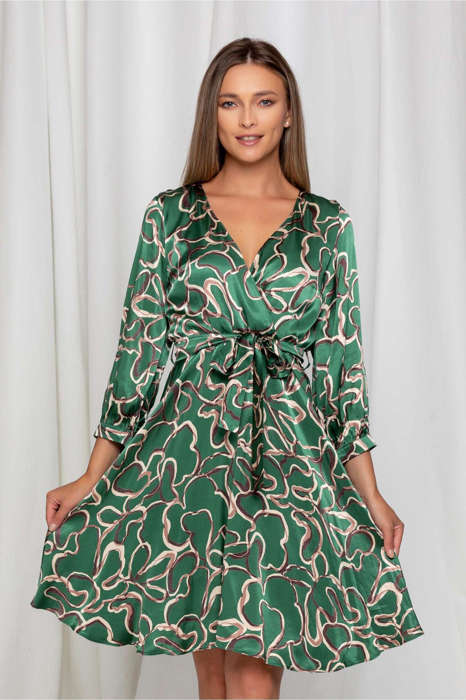 Rochie Annes verde cu imprimeuri verzi
