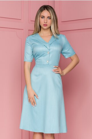 Rochie Vero bleu cu nasturi fantezie