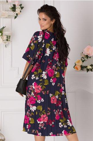 Rochie Verona bleumarin cu imprimeuri florale fucsia