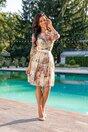 Rochie Vicky galbena cu imprimeuri florale