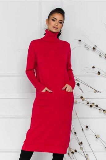 Rochie Viki rosie cu guler inalt si buzunare