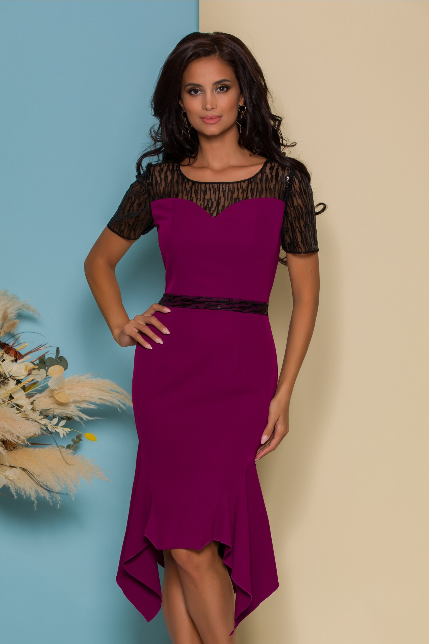 rochie violeta mov cu paiete si croi asimetric 557841 4