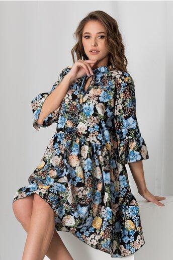 Rochie Violeta neagra cu imprimeu floral albastru