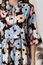 Rochie Violeta neagra cu imprimeu floral pastelat