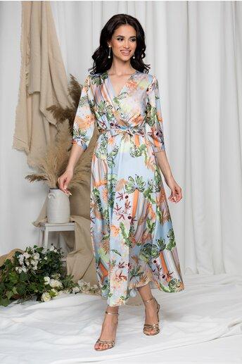 Rochie Vivi bleu cu imprimeu exotic