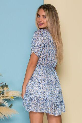 Rochie Vivi cu imprimeuri florale albastre