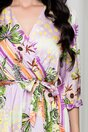 Rochie Vivi lila cu imprimeu exotic