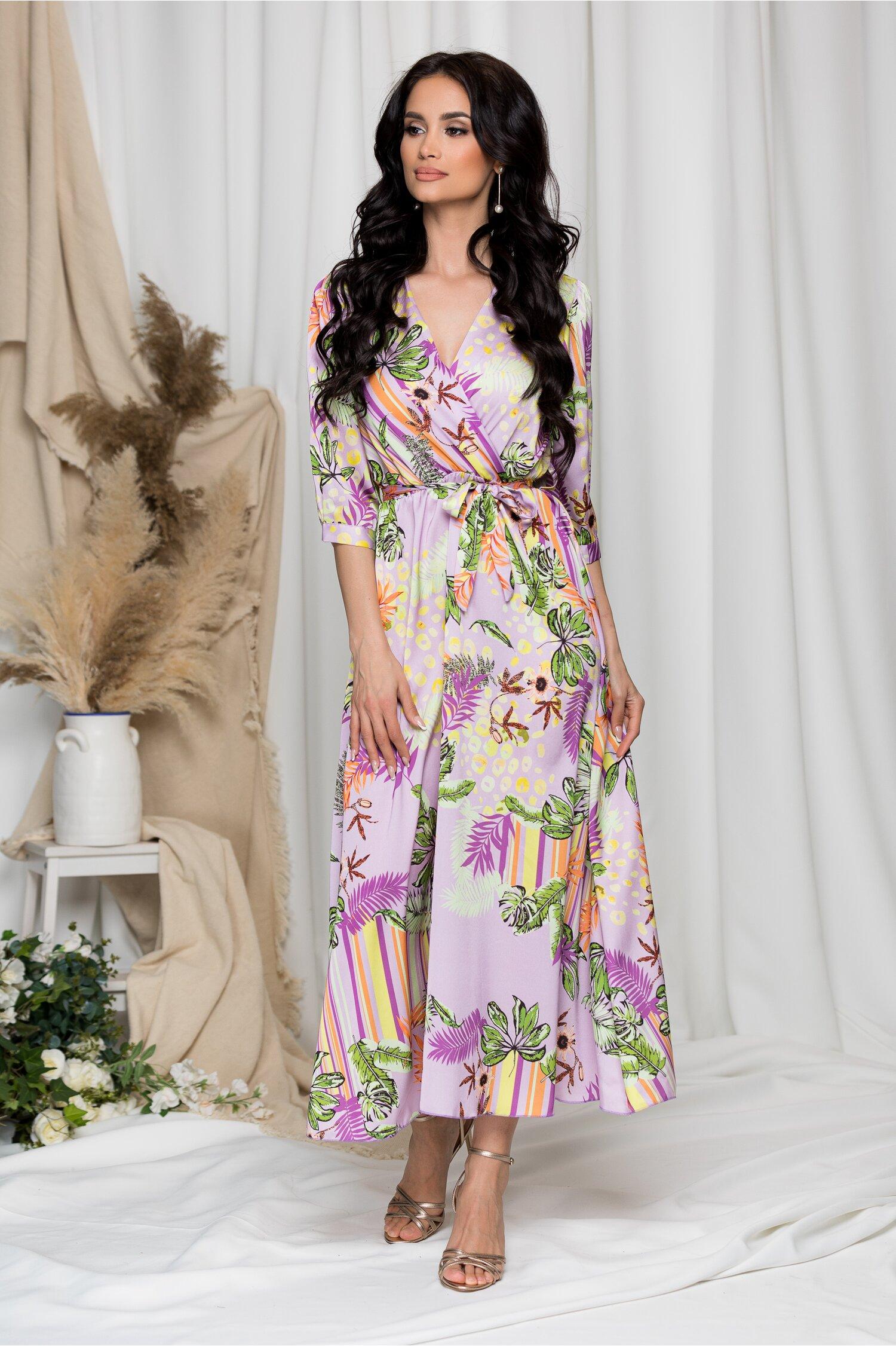 Rochie Vivi lila cu imprimeu exotic imagine dyfashion.ro 2021