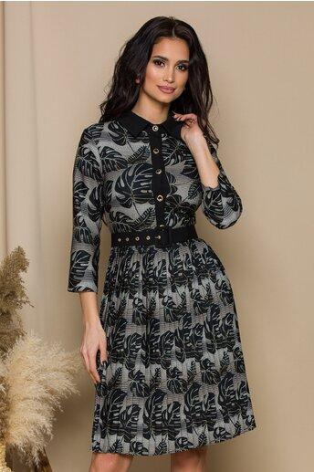 Rochie Vivi negru-kaki cu frunze si fusta plisata