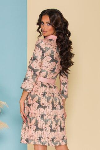 Rochie Vivi roz cu frunze si fusta plisata