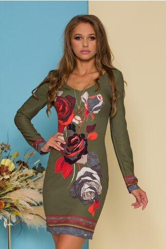 Rochie Vivianne kaki cu imprimeu floral