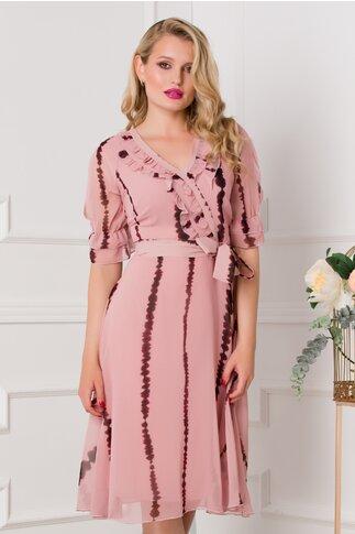 Rochie Vivy roz cu imprimeuri grena
