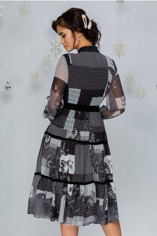 Rochie Vola cu imprimeu divers alb-negru si insertii catifelate negre