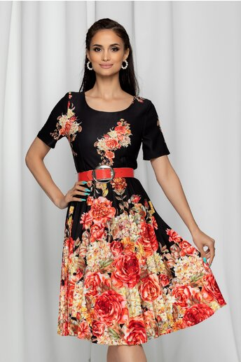 Rochie Wendy neagra cu imprimeu floral si pliuri pe fusta