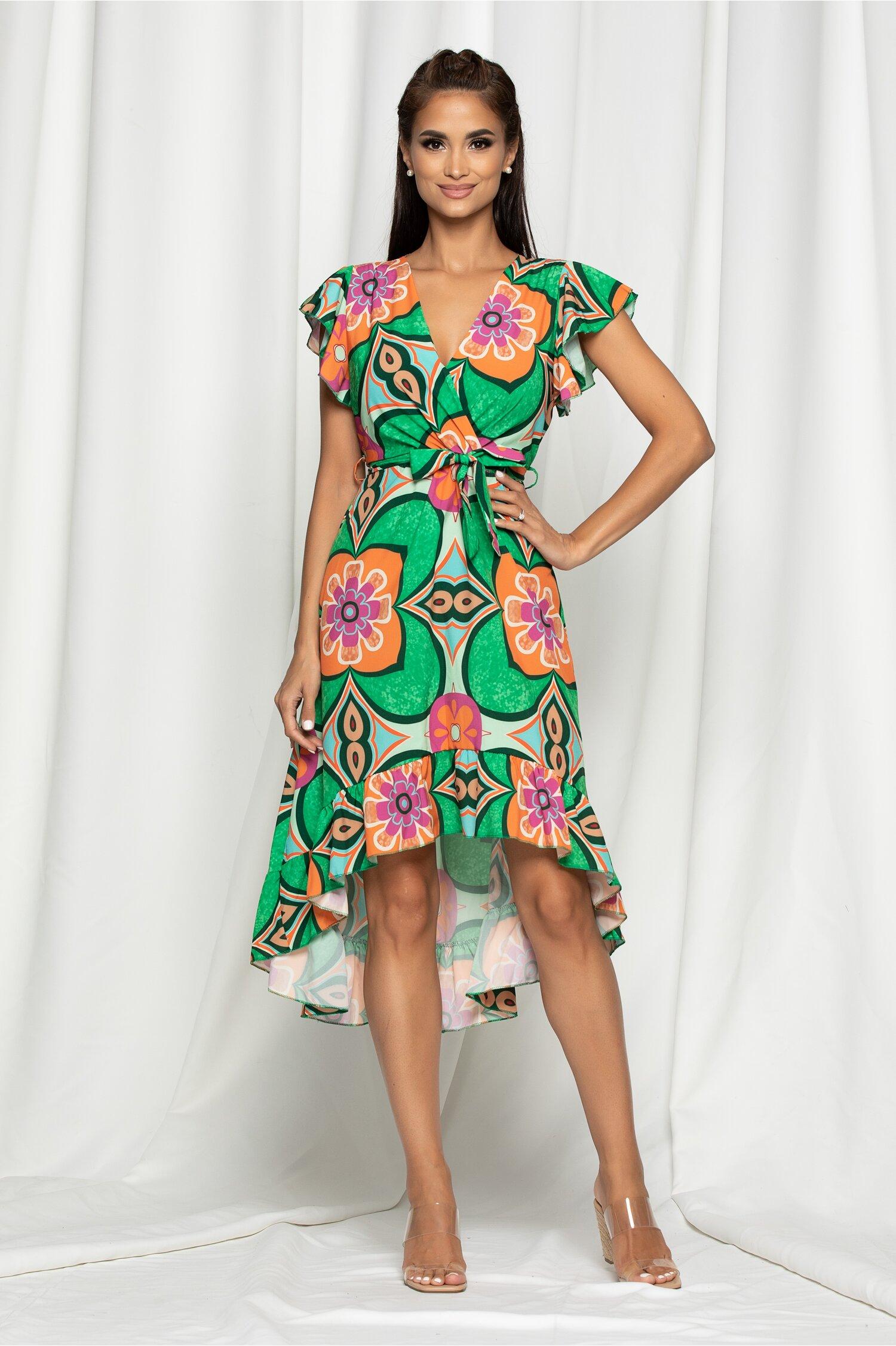 Rochie Wendy verde cu imprimeu floral colorat si baza asimetrica