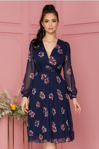 Rochie Willow bleumarin cu imprimeu floral si cordon din broderie florala in talie