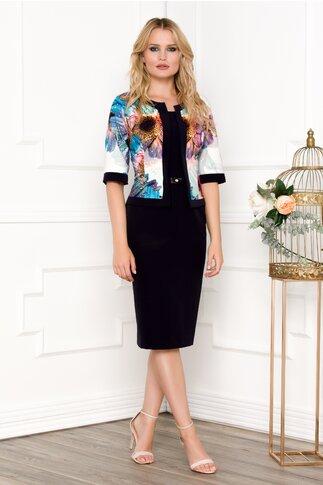Rochie Xera tip compleu bleumarin cu imprimeu floral