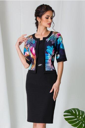 Rochie Xera tip compleu neagra cu imprimeu floral turcoaz
