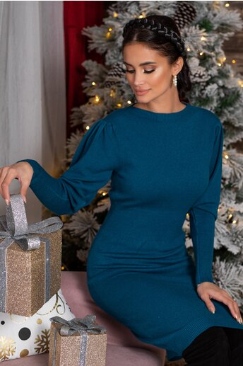 Rochie Ximo albastru petrol din tricot cu talie marcata