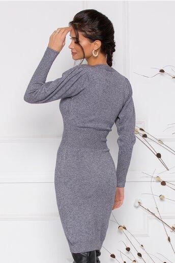 Rochie Ximo gri din tricot cu talie marcata