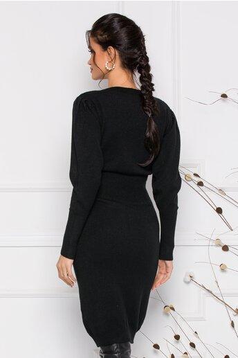 Rochie Ximo neagra din tricot cu talie marcata