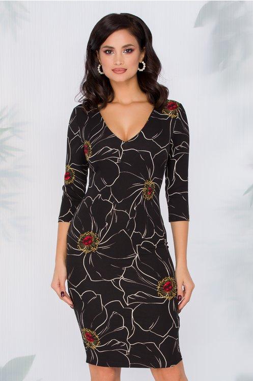 Rochie Yanisia neagra cu imprimeu floral