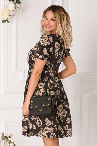 Rochie Yarina neagra cu imprimeu floral crem