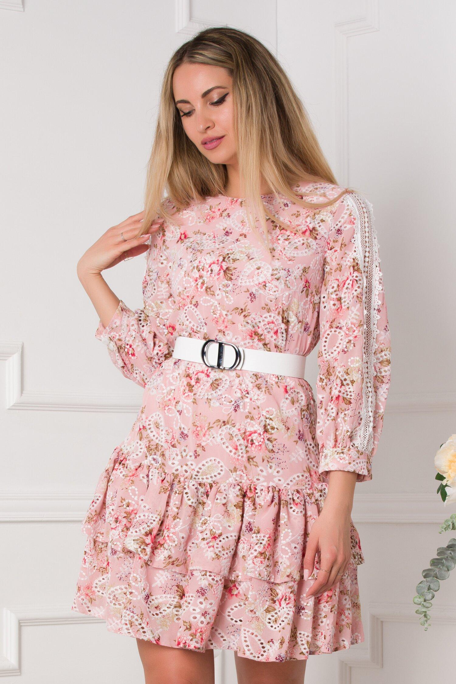 rochie yarina roz cu broderie si imprimeu 531777 4