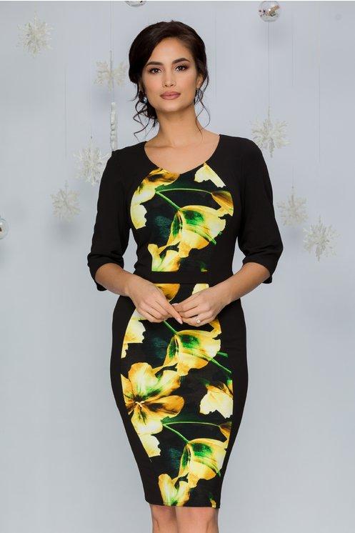 Rochie Yelta neagra cu flori galbene