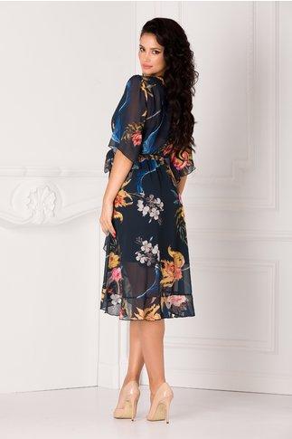 Rochie Yoko bleumarin cu imprimeu floral colorat