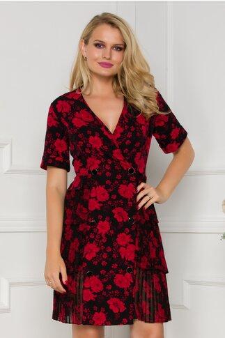 Rochie Yolanda neagra cu imprimeu floral rosu