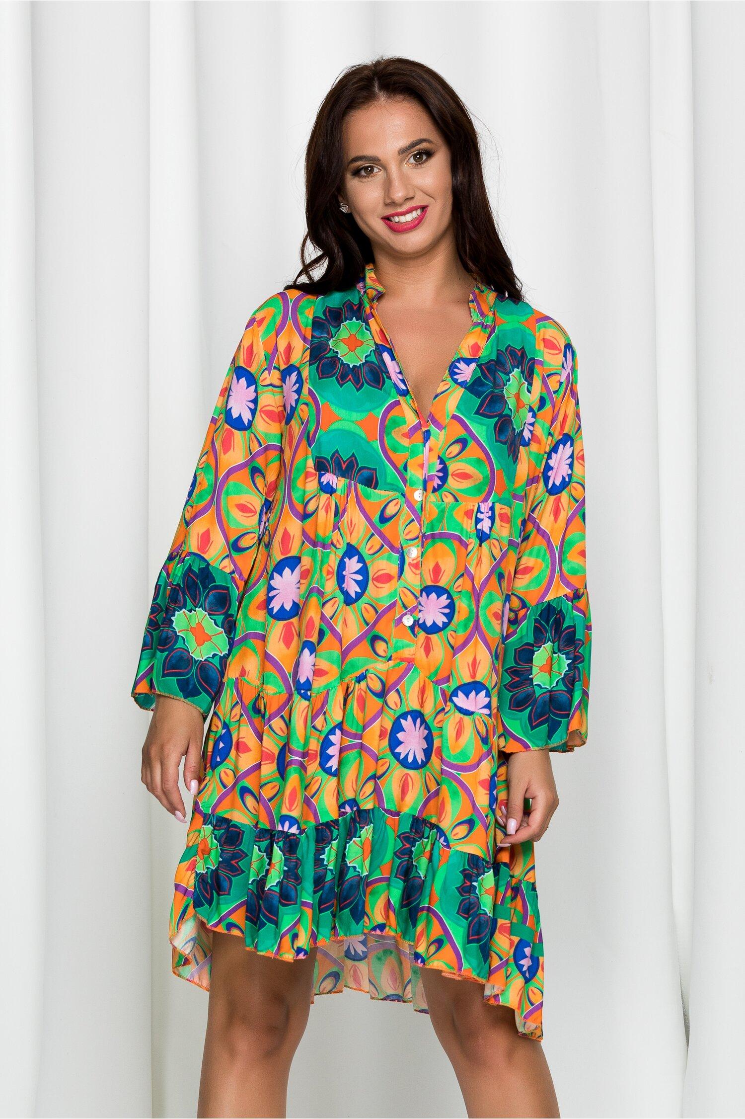 Rochie Youno orange cu imprimeu floral multicolor