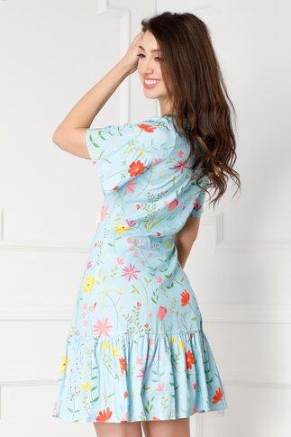 Rochie Yvy bleu cu imprimeuri florale colorate