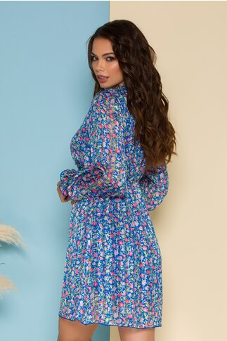 Rochie Zary albastra cu imprimeu floral si insertii discrete din fir lurex