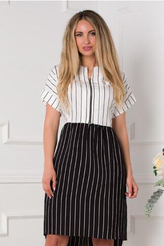 Rochie Ziggie alb-negru cu imprimeu in dungi