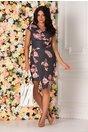 Rochie Zoey bleumarin cu imprimeu floral si dungi
