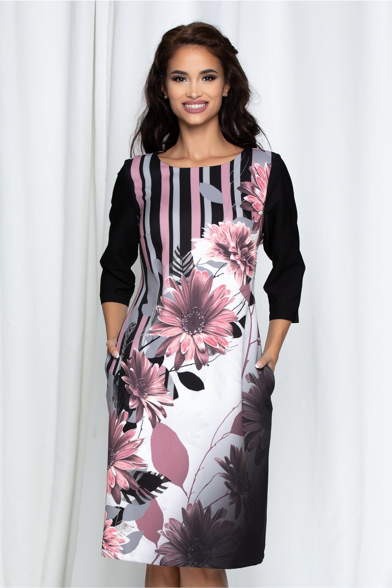 Rochie Zora neagra cu imprimeuri roz